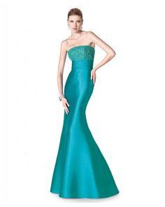 Vestido de fiesta largo palabra de honor escote pedrería en color turquesa
