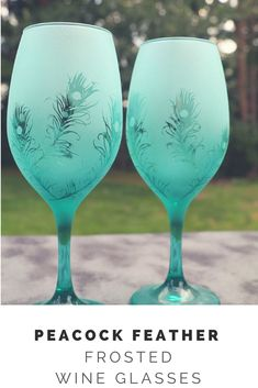 Medium Peacock feathers Frosted Stemmed Wine Glasses Set Of 2 in Multiple colors #peacock #wineglass #ad