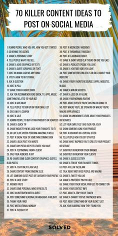 70 Killer Social Media Content Ideas, if you're not sure what to post on social media? You'll LOVE this list. Never run out of ideas to post on social media, again! // Social Media Content // Social Media Tips media marketing business ideas Social Marketing, Whatsapp Marketing, Inbound Marketing, Affiliate Marketing, Internet Marketing, Online Marketing, Marketing Strategies, Writing Strategies, Network Marketing Tips