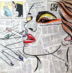 Mixed media and acrylic on canvas 70 x 70 cm Pop Art Drawing, Art Drawings, Newspaper Art, Pop Art Wallpaper, Artwork Images, High Art, Arte Pop, Art Plastique, Painting Inspiration