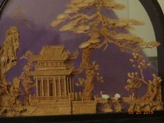 Vintage-Asian-Oriental-Chinese-Lacquer-Diorama-Cork-Carving-Art-Sculpture-Cranes