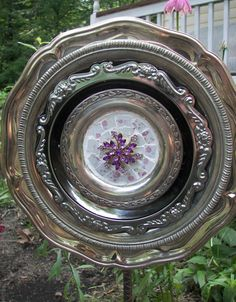 Mosaic Silver Tray Garden Flower by PinkPicketCottage on Etsy, $45.00