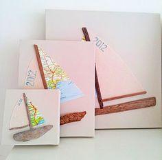 Driftwood, Canvas & Map Sailing Boat