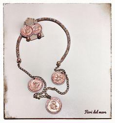 Collana Nespresso Hackers, con catena, tubolare di perline e cialde charms. Da abbinare agli orecchini