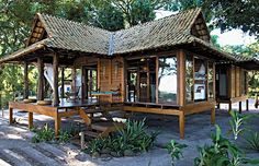 Ideas for house beach architecture bungalows Bamboo House Design, Hut House, House Studio, Jungle House, Hawaii Homes, Beach Bungalows, Beach Cottage Decor, Tropical Houses, Beach Cottages