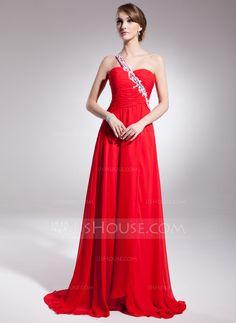 A-Line/Princess One-Shoulder Sweep Train Chiffon Evening Dress With Ruffle Beading Appliques Lace Sequins (017014570) - JJsHouse