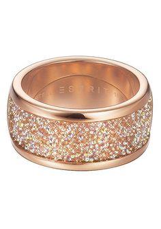 """Esprit, Ring, """"ES-dazzle rose, ESRG12247A160-190"""".  Glamour pur! Dieser auffallend schöne Handschmuck aus poliertem Edelstahl, roségoldfarben ionenplattiert ist ein echtes Highlight. Der ca. 10 mm breite Ring ist mit einem Kristallmix aus SWAROVSKI ELEMENTS verziert, welches ihm ein sensationelles Funkeln verleiht. Dieser wunderschöne Handschmuck ist für Frauen, die es lieben bewundernde Blicke..."""