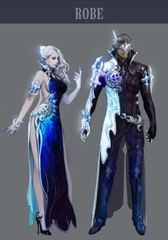 Aion 4.0. She's dressed for a fancy party, he is insanely badass. So, the artist can obviously design well, they just didn't bother to step beyond the stereotype.