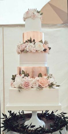 A royal wedding needs a royal wedding cake - look . - A royal wedding needs a royal wedding cake – check out these five … – Wedding Cake Blush Wedding Cakes, Square Wedding Cakes, Wedding Cake Roses, Floral Wedding Cakes, Elegant Wedding Cakes, Beautiful Wedding Cakes, Wedding Cake Designs, Rose Wedding, Trendy Wedding