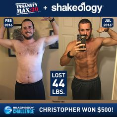 See how Christopher lost 44 pounds with INSANITY MAX:30 + Shakeology! // results // before and after picture // weight loss // transformation // success stories // fitness // exercise // nutrition // men's results // Beachbody Challenge // Beachbody Coach // BeachbodyBlog.com