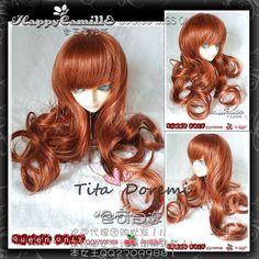 "1/3 8-9"" Dal Pullip BJD SD DZ DOD LUTS dollfie Doll long orange wig hair E70 in Dolls & Bears, Dolls, Doll Making & Repair   eBay"