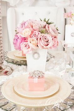 pink reception wedding flowers,  wedding decor, wedding flower centerpiece, wedding flower arrangement, add pic source on comment and we will update it. www.myfloweraffair.com can create this beautiful wedding flower look.     Pink floral centrepiece  photo credit - @Rowell Photography