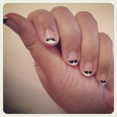 mustache manicure  - how fun is this?