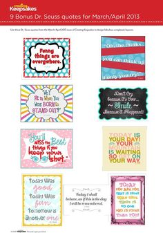 free dr. suess printables | Free Dr. Seuss Inspired Quotes Printables from ... | Scrapbooking &...