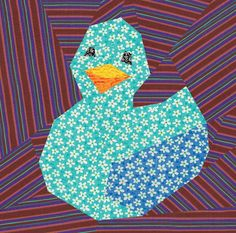 free paper piecing quilt patterns to print | Ducky paper pieced block by Cyrille | Quilting Pattern
