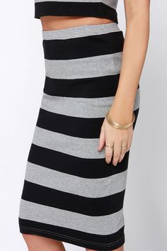 BB Dakota Phinley Black and Grey Striped Pencil Skirt at Lulus.com.