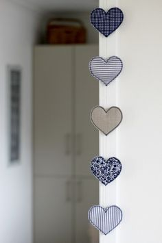 fabric heart mobile