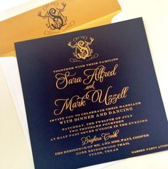 Navy and gold foil #monogrammed #wedding #invitation for a backyard #Texas wedding I Custom by Nico and Lala
