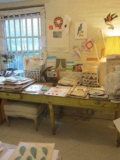 John Derian's office -- love the table!!