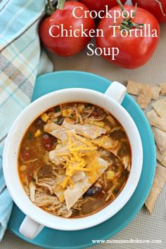 This Crockpot Chicken Tortilla Soup  is so warming and filling AND easy to make.  Great for a weeknight meal or even game day!
