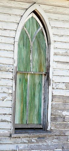 stained glass window abandoned country church