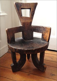 Solid wooden chair carved from one piece of wood . via Esther Fitzgerald Rare Textiles Recycled Furniture, Unique Furniture, Wood Furniture, African Interior Design, African Design, African Room, African Art, African Furniture, Black Dining Room Chairs