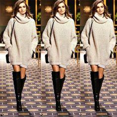 4f3f65f212 Women Cowl Neck Loose Long Sleeve Winter Oversize Sweater Jumper Pullover  Shirt