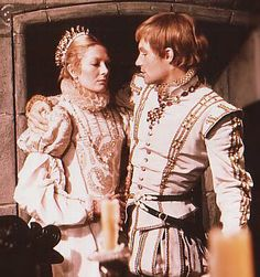 Vanessa Redgrave and Timothy Dalton as Mary Stuart and Lord Darnley from the 1971 movie, 'Mary Queen of Scots'.Dalton looking particularly fetching in white. Mary Queen Of Scots, Queen Mary, Vanessa Redgrave, Period Costumes, Movie Costumes, Elisabeth I, Timothy Dalton, Tudor Era, Mary Stuart