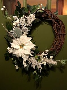 Elegant White Poinsettia Ivy Wreath for Door to Replace Christmas Wreath