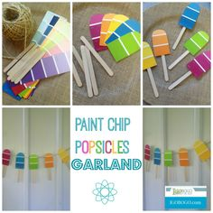 Fun and Easy craft for summer - Paint Chip Popsicles Garland! - Fun and Easy craft for summer – Paint Chip Popsicles Garland! Summer Bulletin Boards, Summer Bulliten Board Ideas, Bulletin Board Ideas For Teachers, Daycare Bulletin Boards, Bulletin Board Borders, Easy Crafts, Crafts For Kids, Popsicle Party, Popsicle Sticks