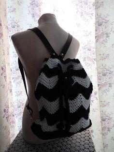Handmade backpack crochet bag