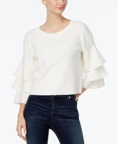 Inc International Concepts Ruffled Cropped Sweater, Only at Macy's -