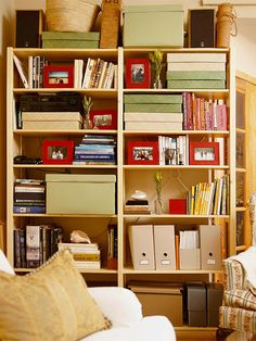 Living in a small space is tough, especially when your decorating options are limited by rental rules and landlord laws. Let these small apartment decorating ideas on a budget inspire you to make the home (and space) you want. Small Space Organization, Home Organization, Small Space Living, Small Spaces, Home Office, Shelving, Storage Shelves, Organizing Bookshelves, Arranging Bookshelves