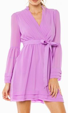 rorey wrap dress in lavender