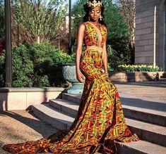 Long African kente prom dress/ghana clothing/African print prom dress/African women attire/Ankara dress for prom/African clothing for women African Inspired Fashion, African Print Fashion, Africa Fashion, African Fashion Dresses, African Attire, African Wear, African Women, African Outfits, African Prints