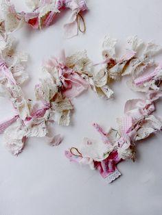 Tattered  Rag Garland * Pink Gingham Rosebuds Shabby Garland * 3ft Garland * Baby Shower photo backdrop * Pink White Nursery Decor