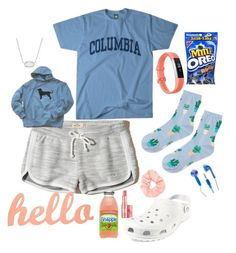 """""""Day 1"""" by chanceprep ❤ liked on Polyvore featuring Hollister Co., Topshop, Columbia, Fitbit, Benefit, Forever 21, Kendra Scott, Crocs and kandhbeachcontest"""