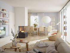 trennwände wohnzimmer raumteiler aus holz und glas | haus ... - Wohnzimmer Ideen Hell