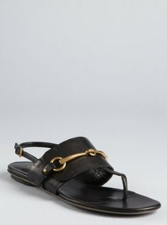 83a44536a7a4 black leather thong horsebit detailed sandals