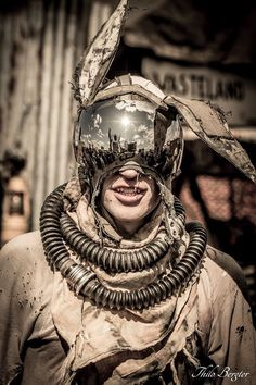 post apocalyptic outfit   bunny helmet mask   LARP - live action role playing   wasteland outfit, style, costume idea, cosplay, desert  