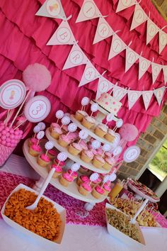 pink party. If no time to make cupcakes, Walmart always has some, or could order some