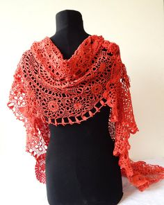 Valentines Gift  Scarf Shawl Handmade from Vintage Crocheted Doilies HANDMADE BY ME in France