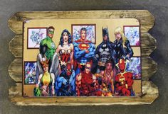 Super Cool!!! Superheroes Retro Metal Poster Framed in Distressed Pinewood by ArtMaxAntiques on Etsy