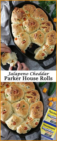 Soft and buttery, these homemade Jalapeno Cheddar Parker House Rolls are so much better than store bought ones! Best Dessert Recipes, Fun Desserts, Great Recipes, Favorite Recipes, Healthy Recipes, Delicious Recipes, Easy Recipes, Dinner Recipes, Tasty