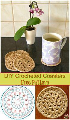 DIY Crocheted Coasters Free Pattern, Free crochet coasters tutorials step-by-step!!