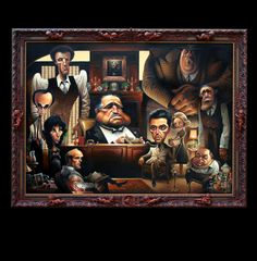This painting of the characters from the Godfather is cool. The frame is hand carved by the artist!