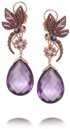 Lydia Courteille 18-karat rose gold multi-stone earrings on shopstyle.ca