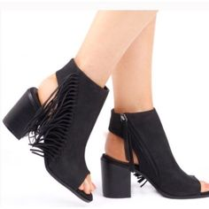 Black Fringe Booties. NWOT NEVER WORN. FRINGE TASSEL BOOTS BLOCK HIGH HEEL OPEN BACK ANKLE STRAP SIZE 8. Shoes Ankle Boots & Booties