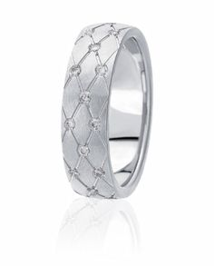 Quilted Pattern Wedding Band With Flush Set Diamond Accents