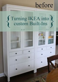 For this project, we used the Hemnes furniture line from IKEA, again. This time we used two Hemnes glass door cabinets with four drawers. Ikea Hemnes Cabinet, Ikea Cabinets, Ikea China Cabinet, Furniture Upholstery, Ikea Furniture, Upholstery Nails, Upholstery Cleaner, Custom Furniture, Home Living